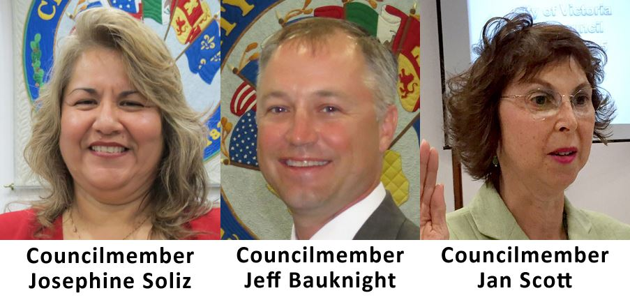 Council members Josephine Soliz, Jeff Bauknight and Jan Scott