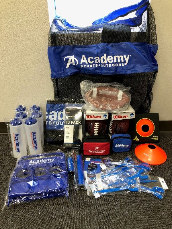 Sports equipment with Academy Sports and Outdoors logo