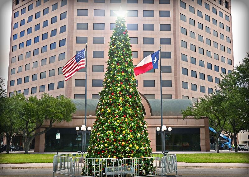 Decorated Christmas tree stands at edge of DeLeon Plaza across from One O&#39Connor building