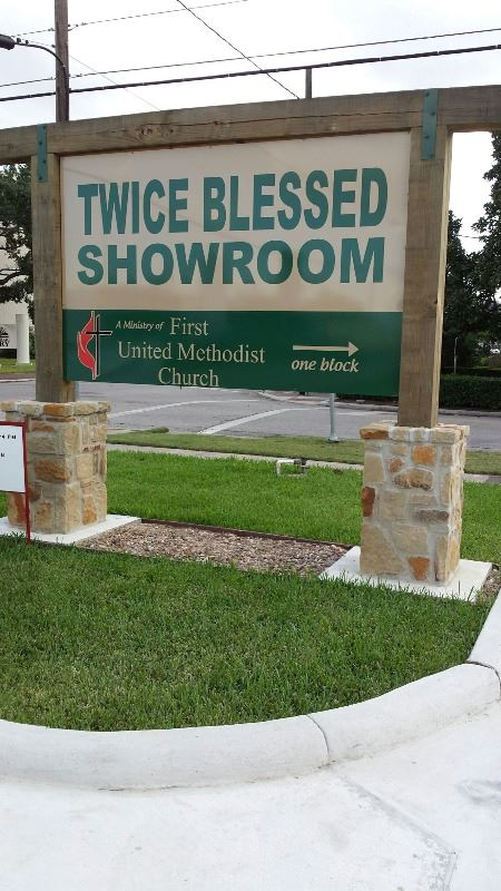 Twice Blessed Sign, tan with green letters