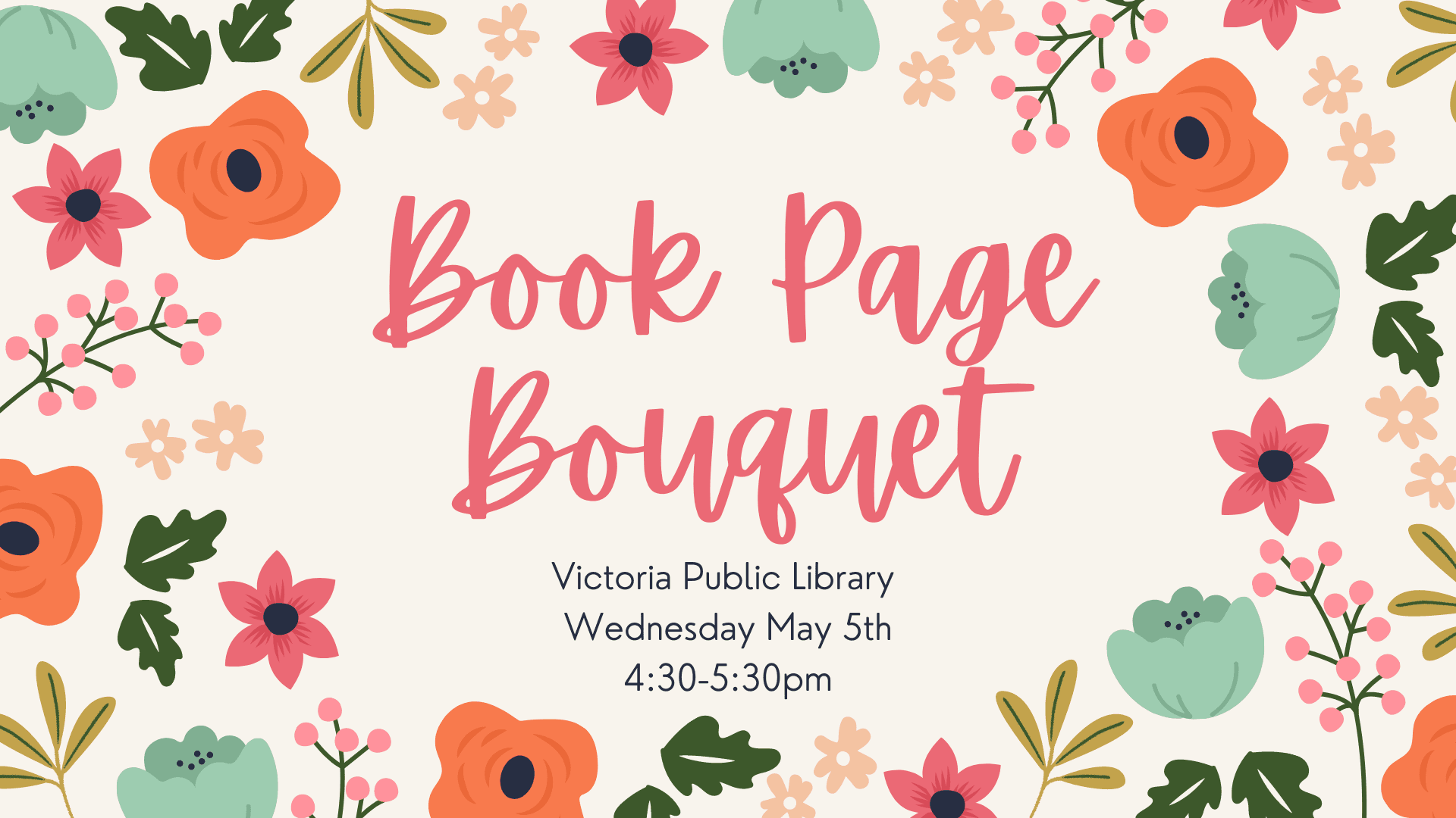 Book Page Bouquets craft, Victoria Public Library, Wednesday May 5th, 4:30 to 5:30 PM