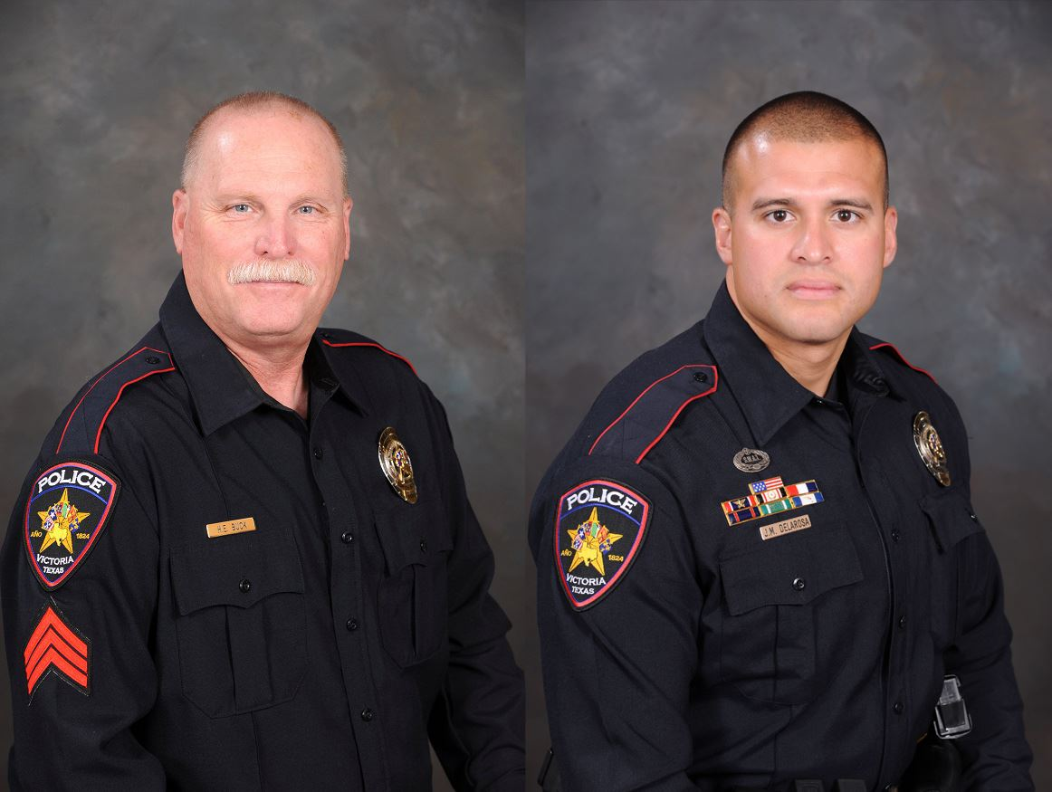Side-by-side portrait of men in police uniform