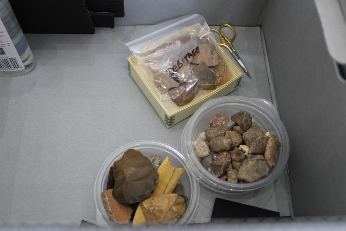 Archaeological samples in box